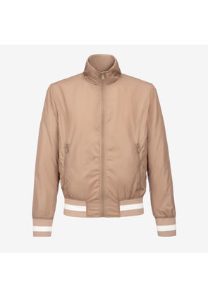 Bally Nylon Bomber Jacket Neutral, Men's nylon bomber jacket in nude