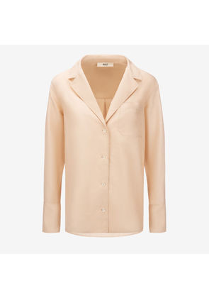 Bally Nastro Jacquard Shirt Beige, Women's cotton and silk blend shirt in biscuit