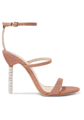 Sophia Webster - Rosalind Crystal-embellished Glittered Canvas Sandals - Metallic