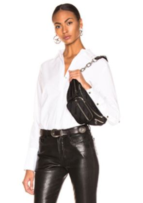 L'AGENCE Tegan Band Collar Blouse With Piping in White