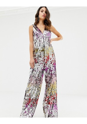 be3795f806f TFNC sequin halterneck wide leg jumpsuit in silver iridescent ...