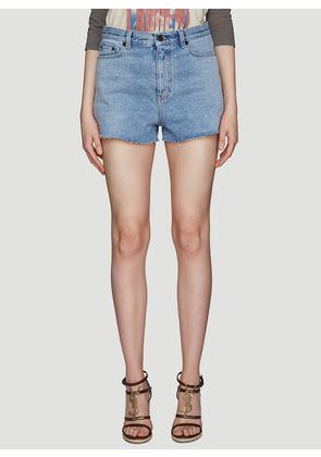 Saint Laurent Mini Columbus Denim Shorts in Blue size 24