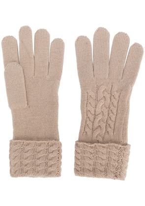 N.Peal cable-knit gloves - Neutrals