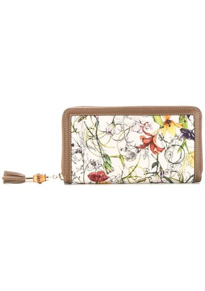 Gucci floral zip-around wallet - Brown