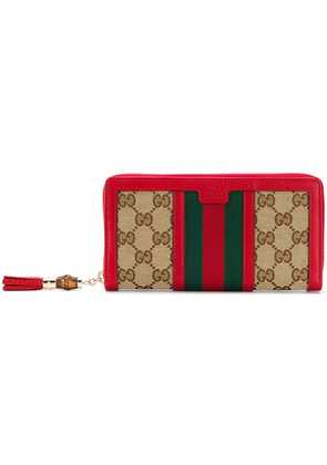 Gucci jacquard GG knit wallet - Red