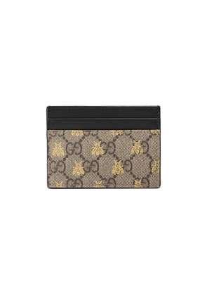 Gucci GG Supreme bees card case - Neutrals