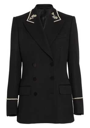 Burberry Bullion Stretch Wool Double-breasted Jacket - Black