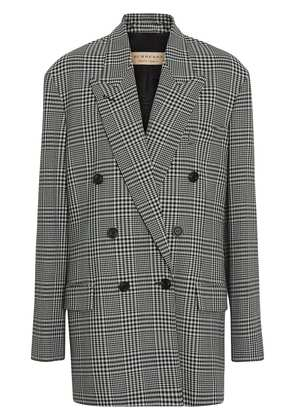 Burberry Prince of Wales Check Wool Oversized Jacket - Green