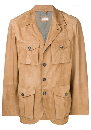 Brunello Cucinelli multi-pocket leather jacket - Brown