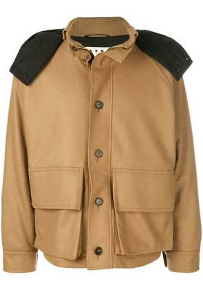 Marni contrast hooded military jacket - Brown