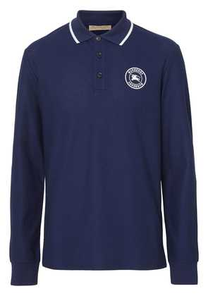 Burberry Long-sleeve Embroidered Logo Cotton Polo Shirt - Blue