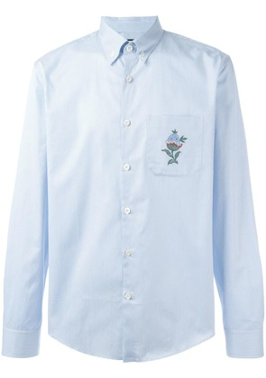 Gucci floral embroidered striped shirt - Blue