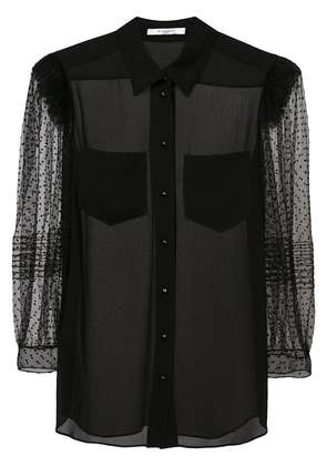 Givenchy sheer point d'esprit sleeve shirt - Black