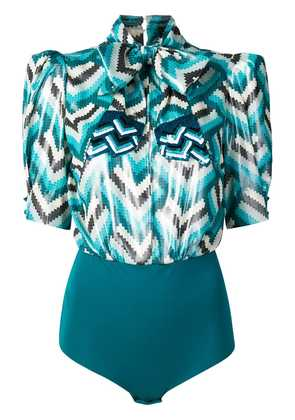 Elisabetta Franchi pixelated chevron body - Blue