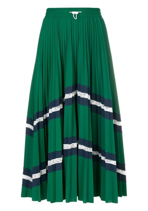 Valentino patterned pleated midi skirt - Green