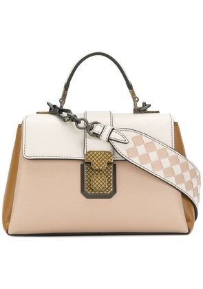 Bottega Veneta mink nappa mini piazza bag - Neutrals