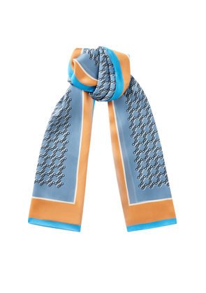MELI H68024310 Rectangular Silk Stole in Stone Blue with all over CHOO logo