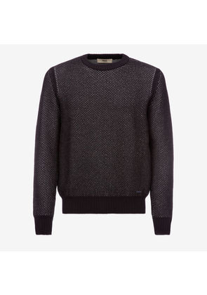 Bally Wool-Cotton Crewneck Jumper Blue, Men's wool and cotton blend jumper in multi-ink
