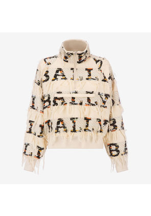 Bally Jacquard Zipped Bomber Jacket Multicolor, Women's polyamide jacquard jacket in multi-bone