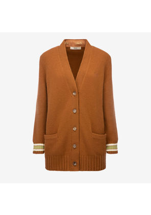 Bally Wool-Cashmere Long Cardigan Brown, Women's wool and cashmere blend cardigan in cowboy