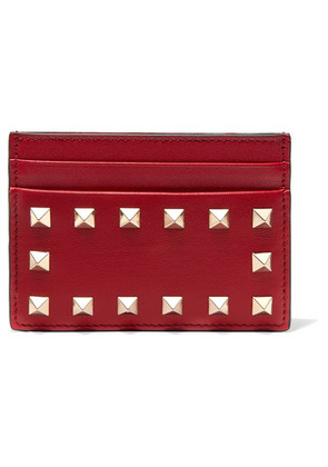 Valentino - The Rockstud Leather Cardholder - Red