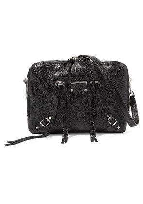 Balenciaga - Classic Reporter Xs Glossed Textured-leather Shoulder Bag - Black