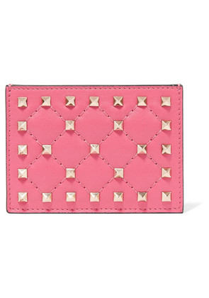 Valentino - The Rockstud Spike Quilted Leather Cardholder - Pink