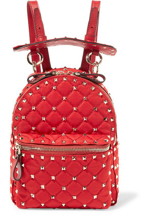 Valentino - Valentino Garavani The Rockstud Spike Leather-trimmed Quilted Satin-twill Backpack - Red
