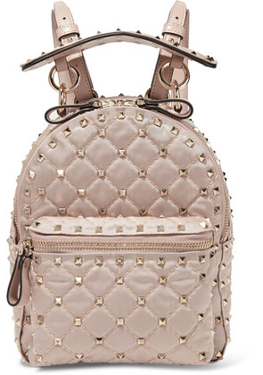 Valentino - Valentino Garavani The Rockstud Spike Leather-trimmed Quilted Satin-twill Backpack - Blush