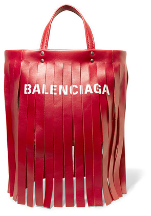 Balenciaga - Fringed Printed Leather Tote - Red