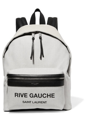 Saint Laurent - Mini City Leather-trimmed Printed Canvas Backpack - White