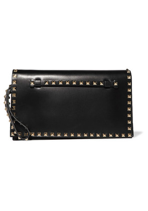 Valentino - The Rockstud Leather Clutch - Black
