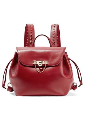 Valentino - Valentino Garavani Demilune Studded Leather Backpack - Red