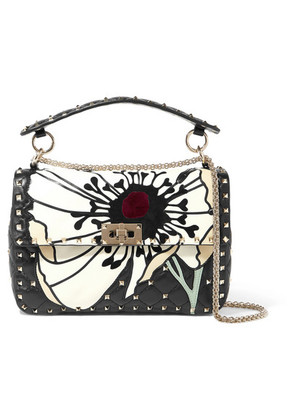 Valentino - Valentino Garavani The Rockstud Spike Velvet And Suede-trimmed Quilted Leather Shoulder Bag - Black