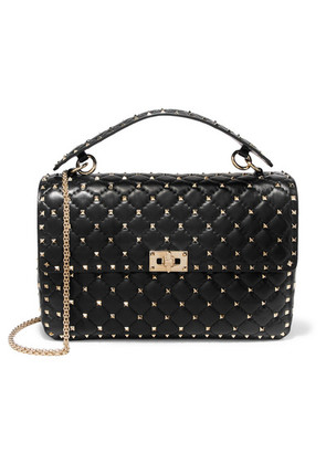 Valentino - The Rockstud Spike Large Quilted Leather Shoulder Bag - Black