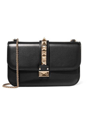 Valentino - Lock Medium Leather Shoulder Bag - Black