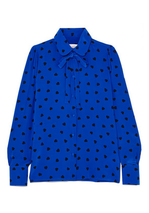 Valentino - Pussy-bow Printed Silk Blouse - Blue