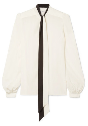 Givenchy - Pussy-bow Silk Crepe De Chine Blouse - White