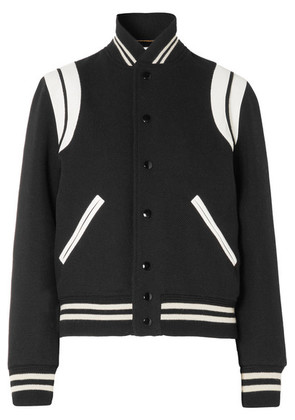 Saint Laurent - Teddy Leather-trimmed Wool-blend Bomber Jacket - Black