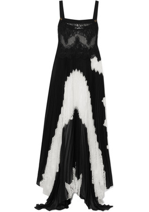 Givenchy - Lace And Pleated Silk-blend Georgette Gown - Black