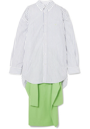 Balenciaga - Striped Cotton-poplin And Jersey Shirt - White