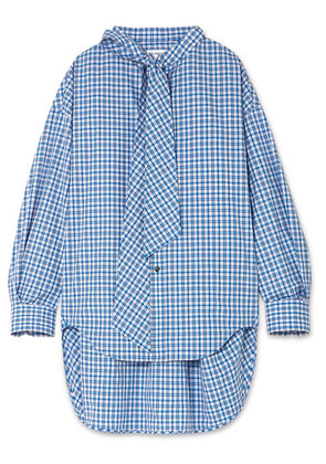 Balenciaga - New Swing Checked Cotton-poplin Shirt - Blue