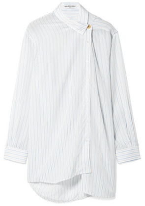 Balenciaga - Oversized Asymmetric Striped Georgette Shirt - Blue