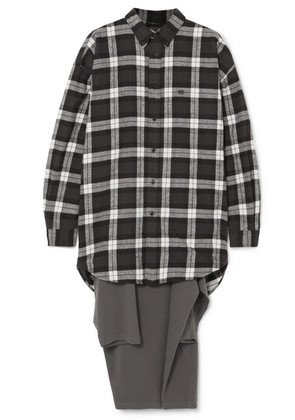 Balenciaga - Oversized Checked Flannel And Jersey Hybrid Top - Anthracite