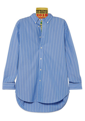 Balenciaga - Tag Oversized Appliquéd Striped Cotton-poplin Shirt - Blue
