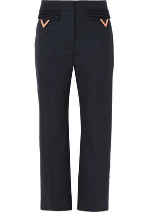 Valentino - Cropped Wool-gabardine Straight-leg Pants - Navy