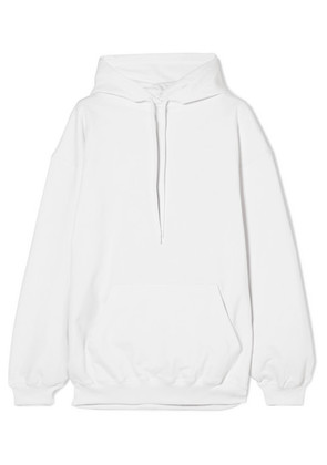 Balenciaga - Oversized Printed Cotton-terry Hooded Top - White