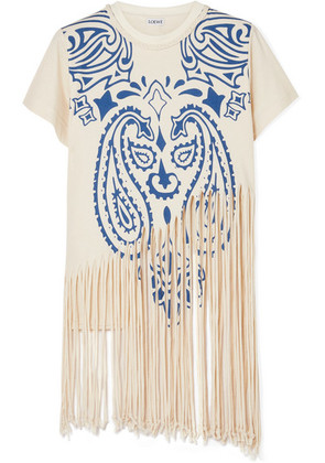 Loewe - Fringed Printed Cotton And Silk-blend Jersey T-shirt - Ivory