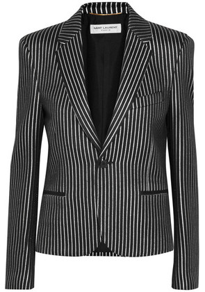 Saint Laurent - Metallic Striped Twill Blazer - Silver