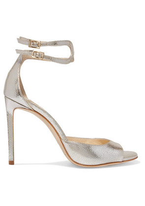 Jimmy Choo - Lane 100 Metallic Cracked-leather Sandals - Silver